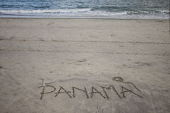Panama Beach. Panama written in sand of a beach resort. Landscape orientation Royalty Free Stock Photography