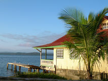 Panama Bocas del Toro house on Caribbean Sea stock photos