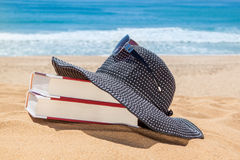 Panama on the books for reading on the beach. Royalty Free Stock Images