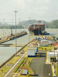 Panama Canal. Large cargo ship about to enter the Miraflores Locks at the Panama Canal, Panama, Central America Stock Photos