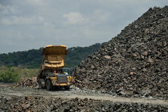Panama Canal. Dump truck carrying crushed rock. Panama Canal, Panama, Central America Stock Images