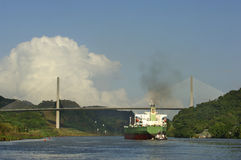 Panama Canal. Ship under Puente Centenario, Panama Canal, Panama, central America Royalty Free Stock Photo