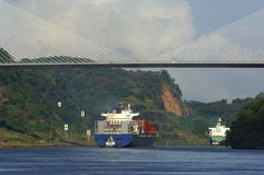 Panama Canal. Ship under Puente Centenario, Panama Canal, Panama, Central America Stock Photo