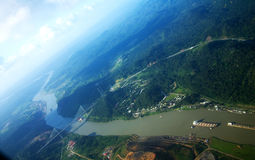 Panama Canal. This is the panama canal taken from the plane Royalty Free Stock Photography
