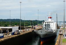 Panama Canal. Busy day in Panama's Canal Gatun Locks stock image