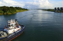 Panama Canal Authority Tug Boat Stock Photography