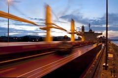 Panama Canal. Cargo ship at Miraflores Lock, Panama Canal, Panama, Central America Stock Photo