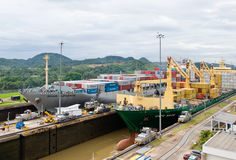 Panama Canal Cargo Ships. The Panama Canal MiraFlores Locks Panama City control building workers and staff Royalty Free Stock Image