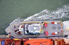 Panama Canal crew boarding container ship. stock photos