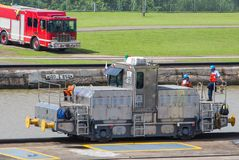 Specialized railroad trucks move ships through the Panama Canal. Panama Canal, Panama, Dec 5, 2017 - Specialized railroad trucks move ships through the Panama Stock Photo