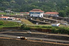 Panama canal extension  - Miraflores Docks Stock Photo