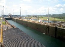 Panama Canal locks. With only water Stock Image