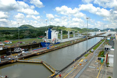 Panama Canal locks. With a large cargo ship in the background stock image