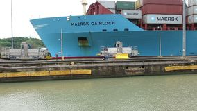 Panama canal locks, freight, shipping, transportation stock video