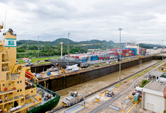 Panama Canal Locks Transit Stock Photo