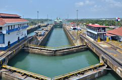 Panama Canal. A major waterway linking the Atlantic and Pacific oceans royalty free stock image