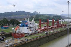 The Panama Canal is a waterway in Panama that connects the Atlantic Ocean with the Pacific Ocean. Royalty Free Stock Images