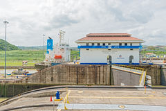 Panama Canal, Miraflores locks Stock Photos