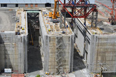 Panama Canal New Construction. Detail of the new construction for the expansion of the Panama Canal shows where the gates will be housed Royalty Free Stock Photography