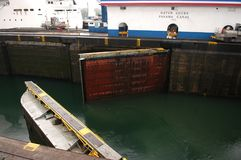Panama canal open gate stock image