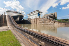 Panama Canal. Ship exits locks at the Panama Canal towards the Pacific Ocean Royalty Free Stock Images
