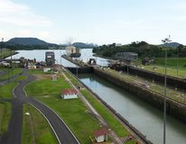 Panama Canal, Shipping, Freight, Travel. Panama Canal locks. A freight ship has passed through the lock. Central America is a popular travel destination for Royalty Free Stock Photography