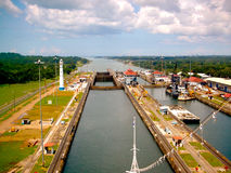 Panama Canal Slips filling with Water Stock Photos