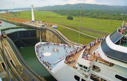 Panama Canal. The Panama Canal (Spanish: Canal de Panamá) Cruise ship enters locks in Canal stock image
