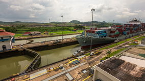 Panama Canal Time Lapse Pan. V5. Panning time lapse of the Panama Canal with ship coming through stock footage