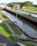 Panama Canal Waterways and Mules Royalty Free Stock Photos