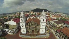 Panama Cathedral on Plaza de la Independencia stock video footage