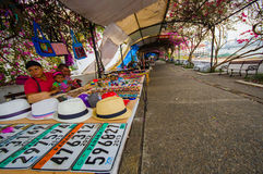 Panama city. PANAMA, PANAMA - APRIL 15, 2015: Souvenirs for sale in the Paza Francia in Pamama city stock images