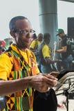 Panama City Panama, Augusti 15, 2015 Närbild av afrikansk amerikanmusikern arkivfoto
