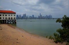 Panama City from the beach at Casco Viejo. Panama City's skyline as viewed from a beach at Casco Viejo Royalty Free Stock Photography