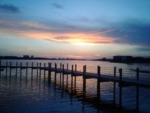 Florida Panama City Beach vista Gulf of Mexico St Andrews pier sunset royalty free stock image