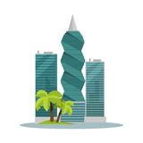 Panama-City Buildings Flat Vector Illustration Royalty Free Stock Photos