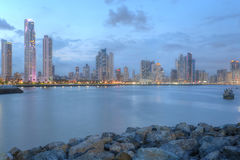 Panama City center skyline and Bay of Panama, Panama, Central Am Royalty Free Stock Images