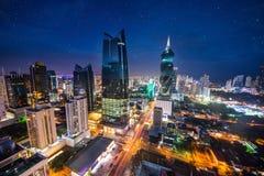 Panama City i skymningen i Panama City arkivfoto