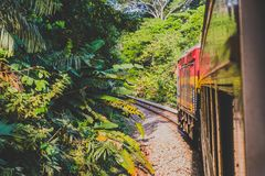 The Panama Canal Railroad train driving from Panama City to Colo Royalty Free Stock Photos