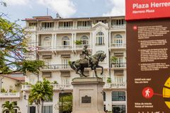 A typical view in Panama City in Panama. Panama City, Panama. March 2018. A view of Plaza hererra and the statue of General Herrera in the old town in Panama stock images