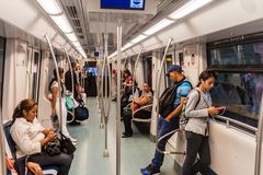 PANAMA CITY, PANAMA - MAY 27, 2016: People ride in a metro train in Panama Cit. Y royalty free stock photos