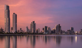 Panama city at night. Panama City, city center skyline and Bay of Panama, Panama, Central America Royalty Free Stock Photo