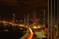 Panama City at night Stock Images