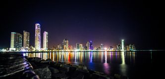 Panama City at Night Royalty Free Stock Photography