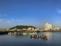 Panama City old quarter skyline. Fishing boats, Panama, Central America royalty free stock photography