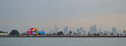 Panama City's Skyline from a ship Royalty Free Stock Photos