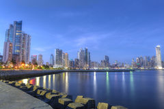 Panama City skyline and Bay of Panama, Central America in the tw Royalty Free Stock Photo