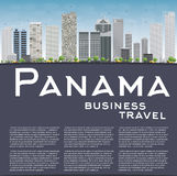 Panama City skyline with grey skyscrapers, blue sky and copy spa Stock Photos