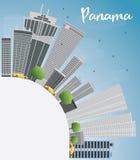 Panama City skyline with grey skyscrapers, blue sky and copy spa Stock Photo