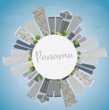 Panama City skyline with grey skyscrapers, blue sky  Stock Photography